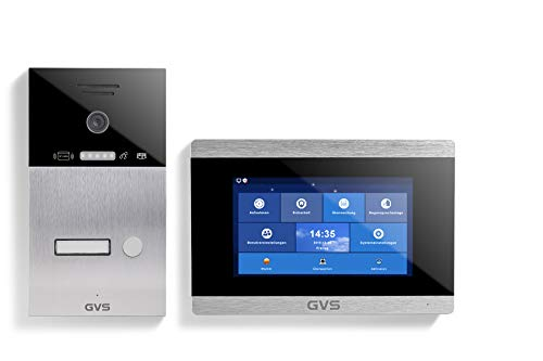 GVS 4-Draht/IP Video Türsprechanlage, Unterputz-Türstation IP65 mit RFID, 1x 7 Zoll Monitor, App, HD-Kamera 120°, Türöffnerfkt, 32GB Speicher, PoE-Switch, 1 Familienhaus Set, AVS4025U