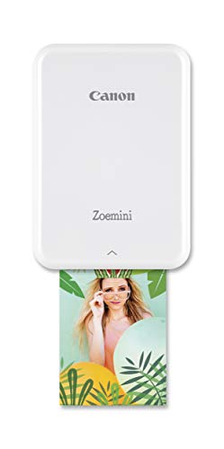 Canon Zoemini Mini Fotodrucker (Mini Fotodrucker, Bluetooth, 5 x 7,5cm Fotos, Akku, ZINK Druck tintenfrei, Sofortdruck, iOS, Android, Printapp, 160 g, 314 x 400 dpi), weiß