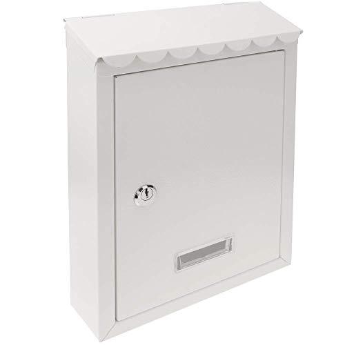 PrimeMatik - Metalen brievenbus voor brieven en post van witte kleur 210 x 60 x 300 mm