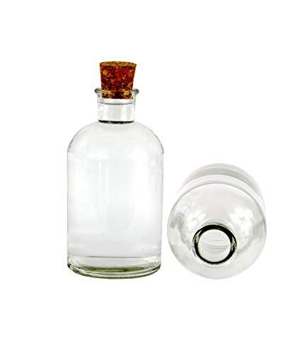casavetro 4 x 1000 Flaschen Apo-CN-SPI Grosse Öffnung Glas-Flaschen inklusiver Korken Wein Schnaps Milch Apotheker 1 Liter