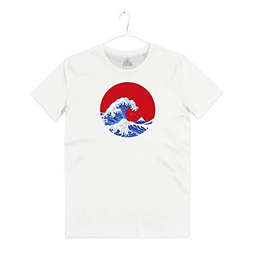 INSIDETSHIRT Maglietta Hokusai Great Wave of Kanagawa La Grande Onda Arti Marziali Japan T-Shirt Unisex (Spray White, L)