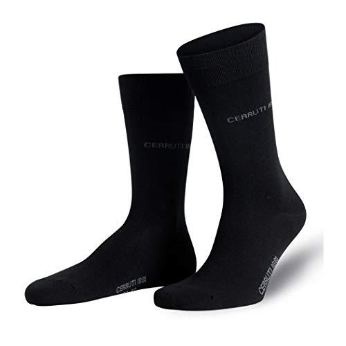 Mediawave Store CERRUTI 1881 Pack 3 Paar lange Socken für Männer Baumwolle, feine Naht (Schwarz, 39/42)