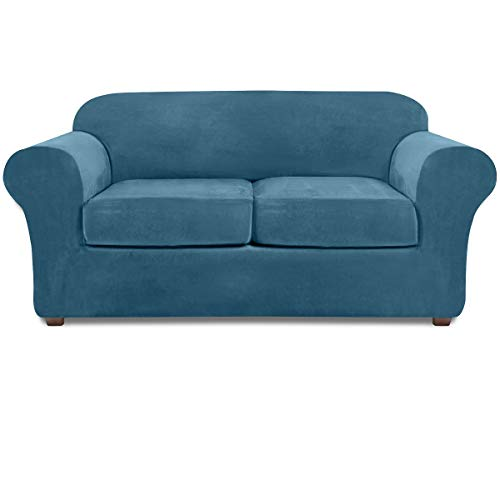 NORTHERN BROTHERS Loveseat Covers for 2 Cushion Couch Velvet 3 Piece Loveseat Slipcover (Peacock Blue)