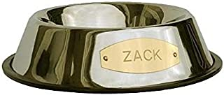 LuckyPet Stainless Steel Pet Bowl with Engraved Brass Plaque & Non-Skid Base, 3