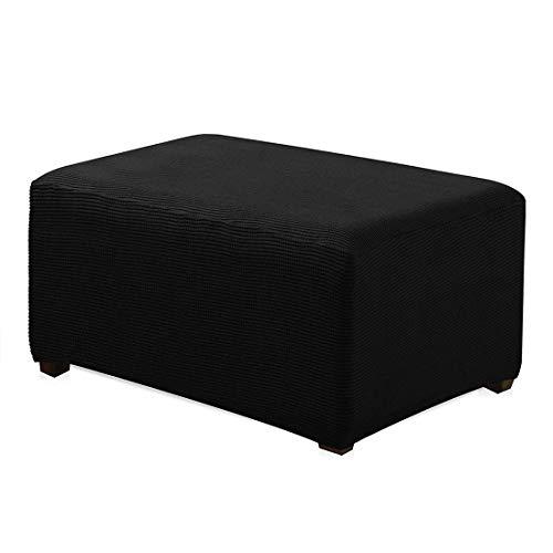 Nati - Fodera per poggiapiedi elastica, per divano, sgabello, colore: nero