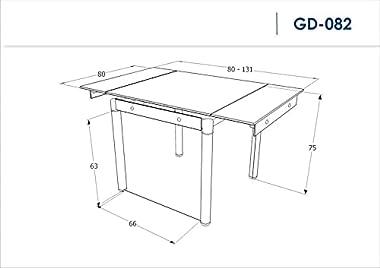 SIGNAL MEBLE Table Extensible 6 Personnes - Gd082-80-131 X 80 X 75 Cm - Noir