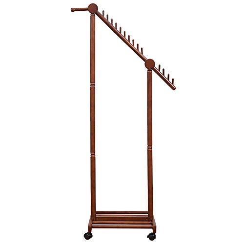 N/Z Haushaltsgeräte Ordentliche Schienen Einfacher Bodenaufhänger Haushaltsbeweglicher diagonaler Aufhänger Massivholz Garderobe Kleiderlagerung (Farbe: Braun Größe: 70x45x155cm)