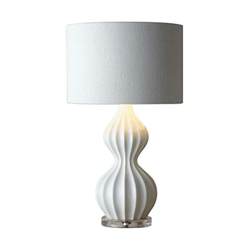lámpara de mesa Lámparas de escritorio Blanco chino de cerámica del patrón de onda lámpara de mesa lámpara de mesa de la calabaza de la sala Dormitorio Cocina lámpara de cabecera, H: los 62cm * W: 34c
