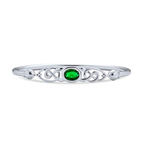 Bridal Celtic Love Knot Bangle Bracelet For Women Kelly Green Oval Cubic Zirconia CZ 925 Sterling Silver 7 Inch