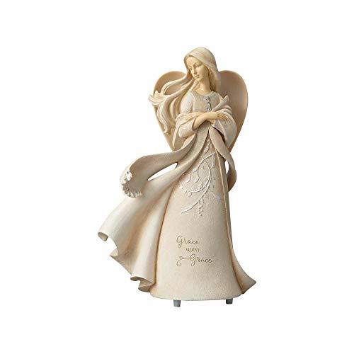 "Enesco Foundations Upon Grace Angel, 9.5"" Stone Resin Figurine, Multicolor"