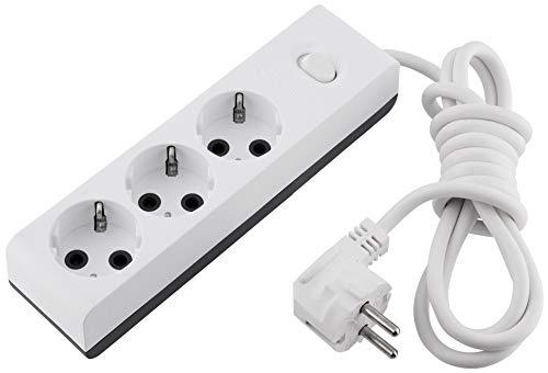 3-voudige stekkerdoos – met schakelaar – kinderbeveiliging – kabel 2 m – ophangvoorziening – max. 3500 W, zuiver wit-antraciet.
