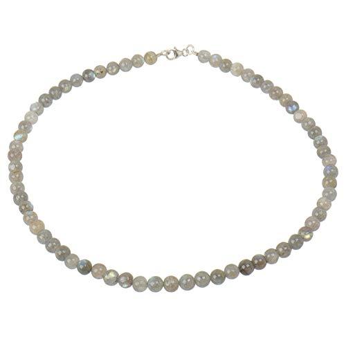 ELEDORO dames bal ketting van 925 zilver met labradoriet 6,5 mm 45 cm