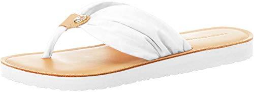 Tommy Hilfiger Damen Leather Footbed Beach Geschlossene Sandalen, Weiß (Ivory Ybi), 40 EU