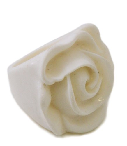 Retro 3d Chunky Cream White Rose Large Flower Statement Cocktail Ring, Size 8