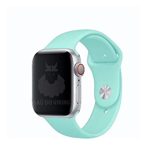Pulseira Silicone Sport Esportiva, compatível com Apple Watch (Verde Agua, 38mm Pequeno)