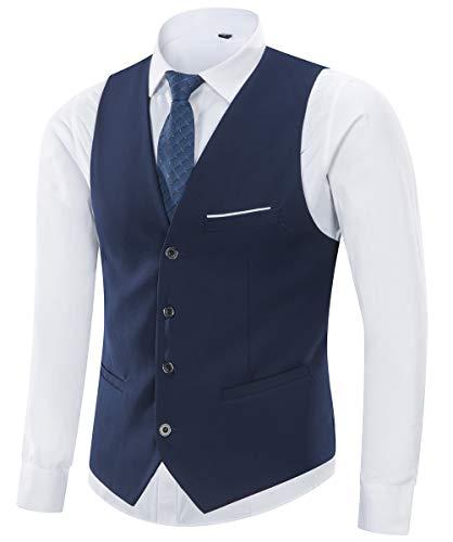 Yingqible Homme Gilet Costume Veste sans Manches Col en V Mode Vintage Côtelé Classique Gilets Mariage Business Veste (Bleu Marin, XS (Taille de l'étiquette XL))