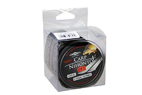 Nihoto Carp - Fil de pêche monofilament très lisse - Disponible de 0,22 à 0,40 mm de diamètre - 0,22 mm de diamètre - Charge maximale : 6,40 kg - Noir - 600 m