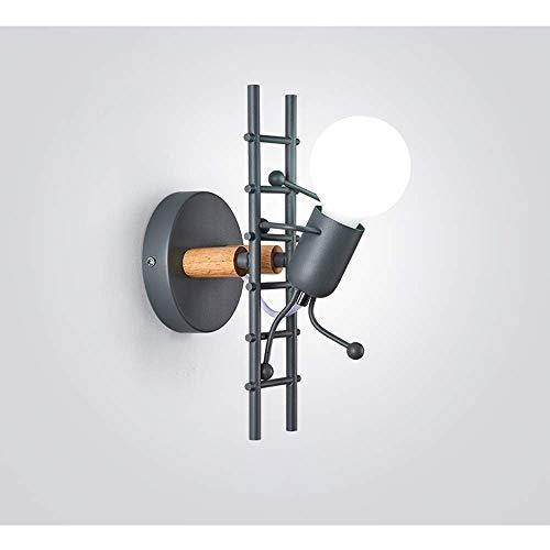 XXLYY Intérieur En Métal Applique Murale En Bois Applique Moderne Pour Enfants Applique Lumière Lampes De Chevet Mode Créatif Simple Style Design Bande Dessinée Lampe Décorative Chambre Pour Enfants E