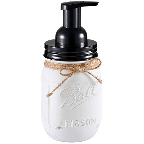 Andrew & Sarah Mason Jar Seifenspender – mit 473 ml Ball Mason Jar für Badezimmer-Waschtische, Küchenspüle, Arbeitsplatten – Hergestellt aus rostfreiem Edelstahl Deckel und BPA-freie Pumpe weiß