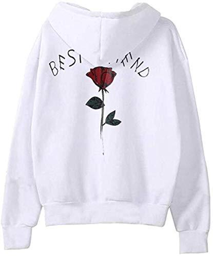 Vrouwen met capuchon Fashion Best Friend hoodies Matching hoodies for Best Friends Witte Hoodie Trui Truien, Gr ?? e: S, Kleur: Donkergrijs (Color : Wei?)