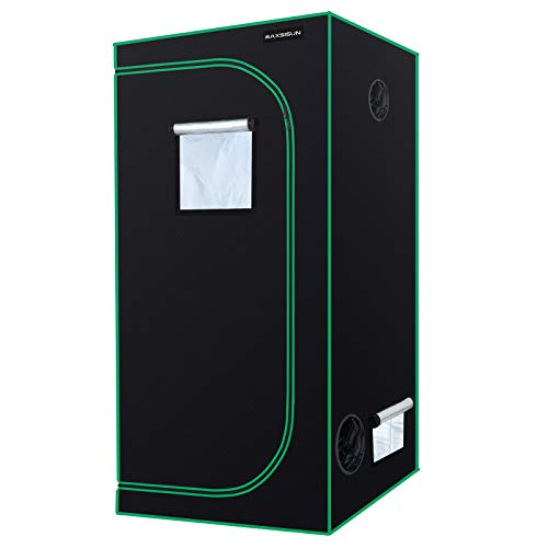 MAXSISUN 3x3 Grow Tent 600D Mylar Hydroponic Indoor Plants Growing Tent with Observation Window and Floor Tray, 36x36x72 Grow Cabinet for 4 Plants