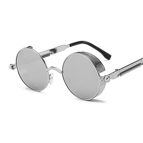UKKD Gafas De Sol Mujeresclassic Gothic Steampunk Gafas De Sol Mujeres Vintage Redondo Metal Marco Gafas De Sol Mujer Male Uv400-Silver Silver