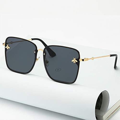 Gafas de sol cuadradas sin montura para mujer, de gran tamaño, con diseño de abeja, para mujer
