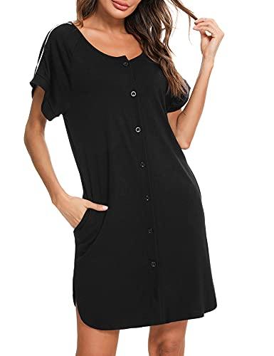 iClosam Damen Nachthemd Kurzarm Schlafshirt Loose fit Nachtkleid Baumwolle Geburt Stillnachthemd Schwangerschaft Schlafanzug Pyjama Sommer Umstandskleidung mit Durchgehender Knopfleiste - S