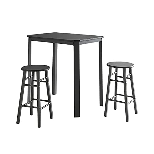 Conjunto de Mesa de Cocina + 2 taburetes - Modelo SETBAL - Color Negro - Material MDF/Metal - Medidas 81x56x83 cm + Ø 30 x 56 cm