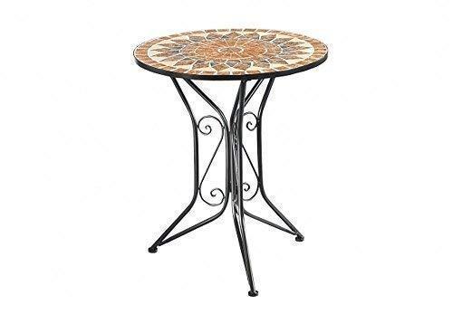 linoows Mosaik Gartentisch Castello, Metalltisch im Landhausstil, Mosaik Tisch