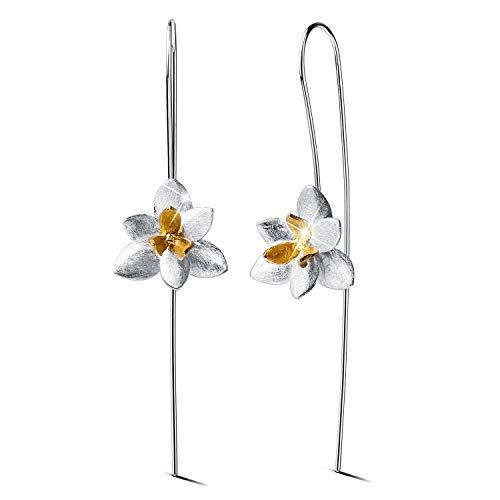 Springlight S925 Sterling Silber Damen Ohrringe Elegante Orchidee Ohrhänger Tropfen Ohrringe Schmuck, Handgemachte Einzigartige Schmuck Geschenke für Frauen.