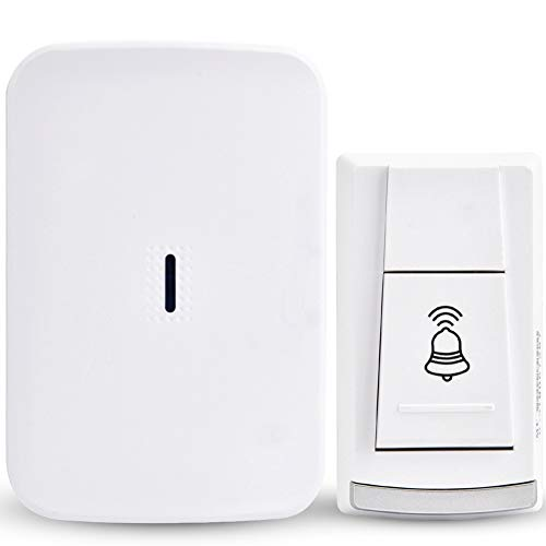 Wireless Door Bell, DC 12V Battery Operated Waterproof Doorbell Transmitter, 4 Levels Volume, 36 Melodies to Choose