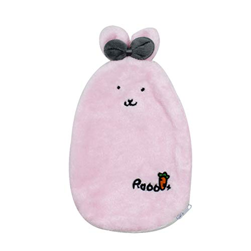 1 Liter Transparent Rubber Hot Water Bottle Soft Warm Water Bag with Plush Fleece Cover, Cute Rabbit Print Hand Feet Belly Warmer