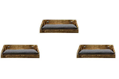 animal-design Wandliege Flame Katzen-Liege Holz Wandmontage rustikal Mulde, Größe:3er Set
