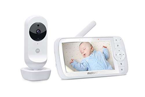 Motorola Ease 35 - Babyphone mit Kamera – 5,0 Zoll Video Baby Monitor HD Display - Nachtsicht, Bidirektionale Kommunikation, Wiegenlieder, Zoom, Raumtemperaturüberwachung - Weiß