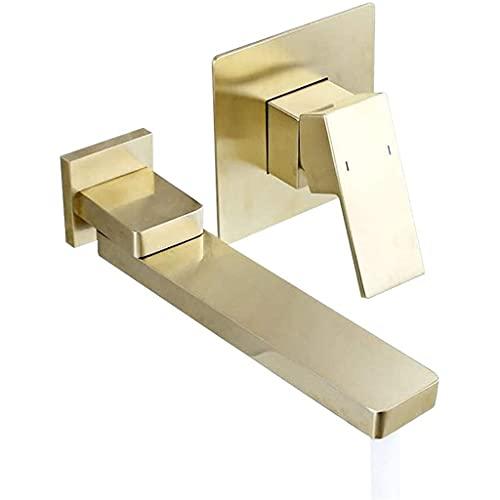 PHOOW Grifo Grifo de Lavabo de baño de Oro de Oro montado en Pared con Chorro Giratorio de 180 Grados de latón sólido de 2 Orificios de un Solo Agujero Mezclador de Lavabo Grifo