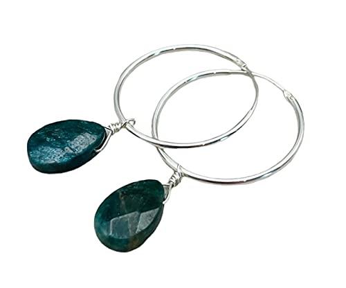 Pendientes Creoles de Plata 925 y Apatita Verde, Joyas de Piedras Naturales, Piedra de Marzo, Regalo para Mujer
