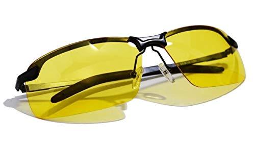REGEASS/サングラス UV400 偏光レンズ REGEASS/ロゴ入りクロス&ケース 3点セット (ブラック/イエロー)