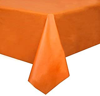 Mountclear 12-Pack Disposable Plastic Tablecloths - 54 x 108 Inch Size Table Cloth – (Orange)