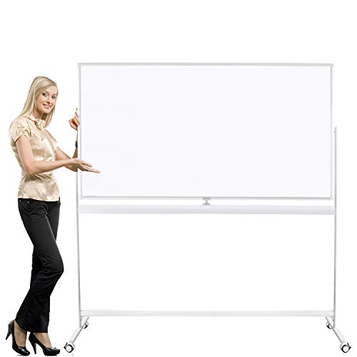 SLEEKFORM Whiteboard Large Oversize 72' x 40' Rolling On A Stand   Mobile Double Sided Dry Erase Magnetic Giant White Board   Free Standing Portable Easel with Locking Wheels   Markers Magnets Eraser