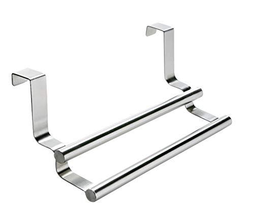 WENKO Handtuchstange Twin, Handtuchhalter mit Doppelstange zum Einhängen an Schublade und Schranktür, für Küche und Badezimmer, ohne Bohren, rostfreier Edelstahl, 23.5 x 10.5 x 8.5 cm