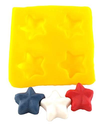 Flexible Molds - Star (4 cavity) - Cream Cheese Mint Molds - Candy Melts - Fondant - Caramels - Soft Candy Molds