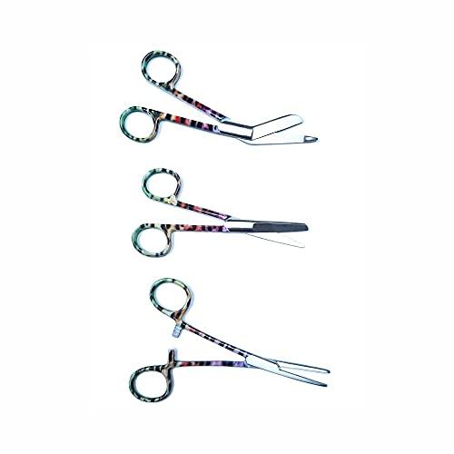 Set de Tijeras de Enfermería con GRABADO personalizado (Pantera Multicolor) en Acero Inoxidable