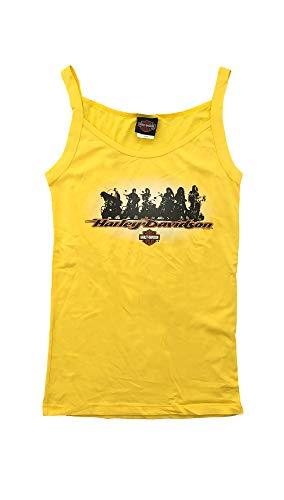 HARLEY-DAVIDSON Original HD Damen T-Shirt Tank Top für Biker - Big Family Harley T-Shirt für Biker Ladys - gelb, Größe:XL