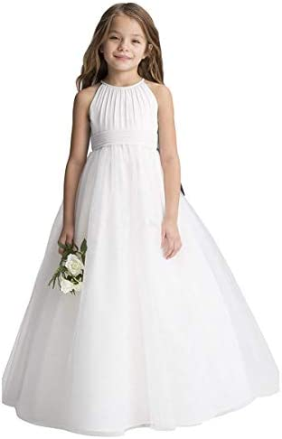 Abaowedding Flower Girls Tulle Chiffon Dresses Kids Wedding Party Pageant Ball Gowns Ivory Size product image