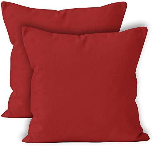 Best ENCASA Homes Throw Cushion Cover 2pc Set - Deep Red - 20 x 20 inch Solid Dyed Cotton Canvas Square A