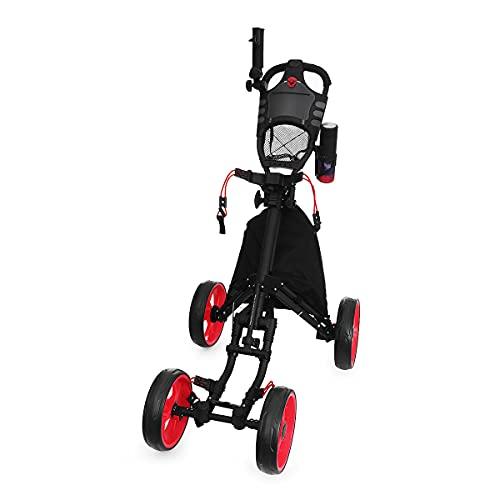 Carros De Golf 4 ruedas Carrito de golf con la aleación de aluminio de la faebreta Bolsa de golf plegable plegable PULTE PUSH CARRES PUSH PUSH Soporte de la taza de sombrilla Trolley ajustable Carro D