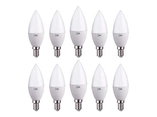 Juego de 10 Bombillas LED C37 vela LED, 4W 395 lúmenes, casquillo E14, luz fría 6000 K °