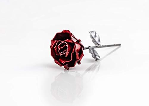 Pack 10 - Rosa Eterna de Hierro Forjado Roja y Plateada - Forjada a Ma