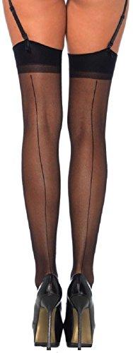 Leg Avenue Damen plus size Straps Strümpfe aus Nylon schwarz transparent Größe ca. 42